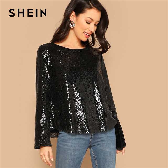 335cc53e58 SHEIN Black Curved Hem Sequin Top Women 2019 Spring Round Neck Long Sleeve  Blouse Highstreet Casual
