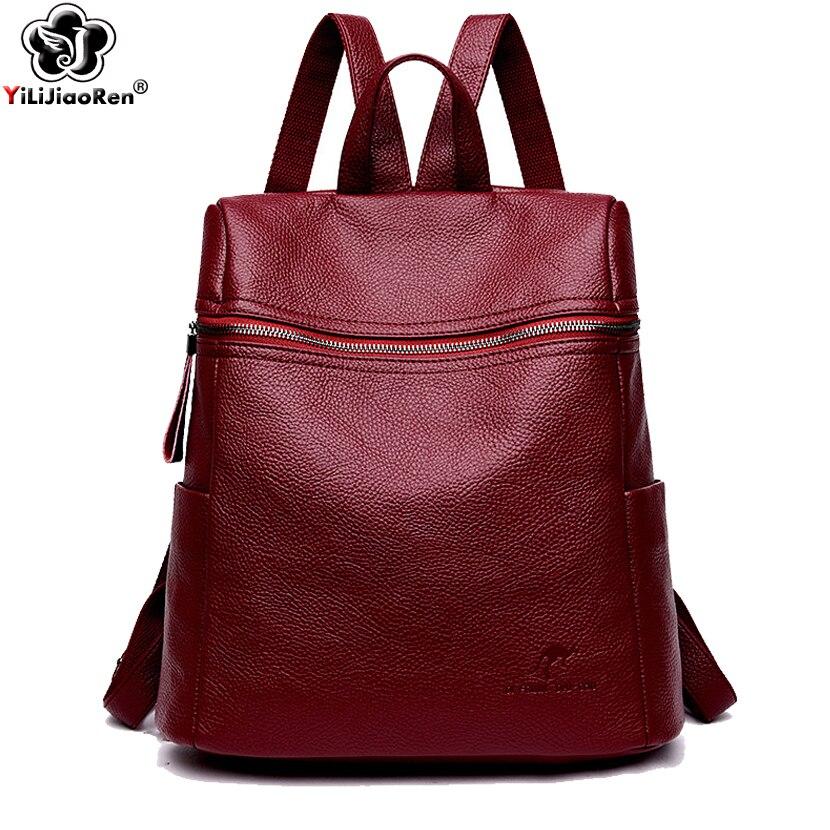 Fashion Backpack Female Brand Leather Backpack Women Large Capacity School Bag For Teenage Girls Simple Shoulder Bags Mochila