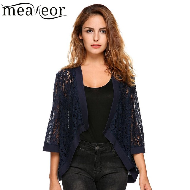 f8109cea29cd Meaneor Women Casual Flare Sleeve Floral Lace Loose Jacket Top 2018 Spring  New Open Stitch Cardigan Ladies Femme Jacket Outwear