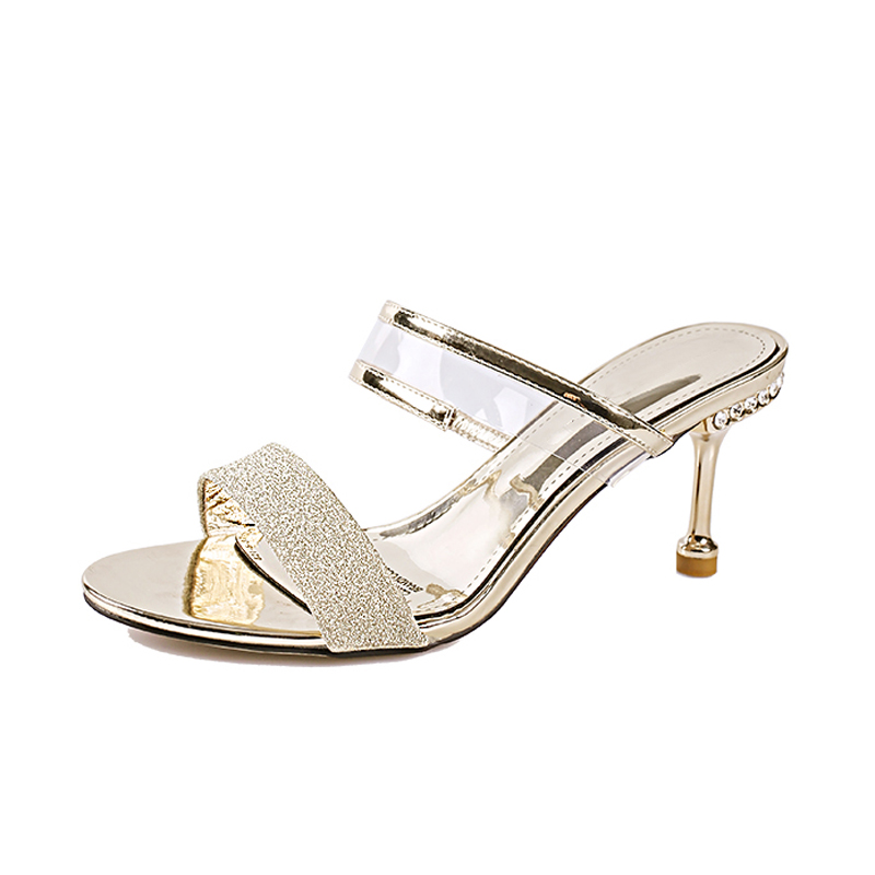 Summer <font><b>Slippers</b></font> For <font><b>Women</b></font> <font><b>Shoes</b></font> <font><b>Woman</b></font> Slides Sequins Transparent Peep Toe Hoof <font><b>High</b></font> <font><b>Heels</b></font> <font><b>Slippers</b></font> Gold <font><b>Sexy</b></font> Ladies Sandals image
