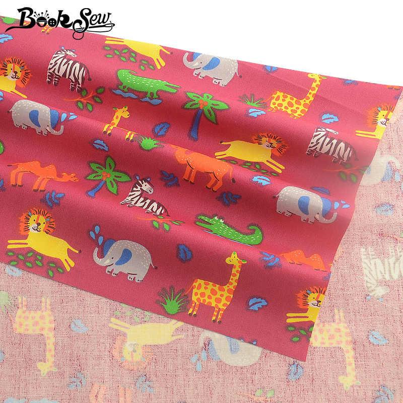 Booksew Textile Pink Printed Cartoon Animals Type 100% Cotton Twill Fabric Dye Quilting DIY Sewing Patchwork Cloth  Scrapbooking