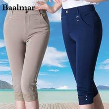 Baalmar Extra Large Size S-6XL 2017 Summer Style Capris Pants Women Pants Ladies High Waist Elastic Pants Casual Mom Trousers