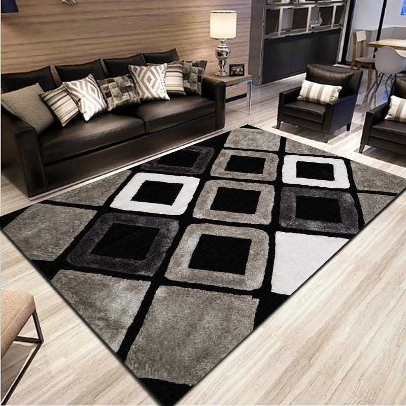 tapis en treillis antiderapant simple moderne abstrait noir blanc gris pour salon chambre a coucher cuisine pour la maison