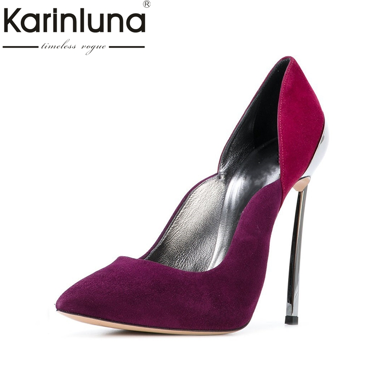 Karinluna Big Size 33-45 Thin High Heels Party Brand Spring Shoes Pumps Sexy Pointed Toe Women Shoes Woman doratasia denim eourpean style big size 33 43 pointed toe women shoes sexy thin high heel brand design lady pumps party wedding