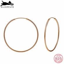Silvercute Simple Rose Gold Color Earrings Hoops For Women G