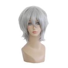 Mcoser 30 см короткие синтетические серебристый серый Цвет Косплэй парик 100% Высокая Температура Волокна Бесплатная доставка WIG-086A
