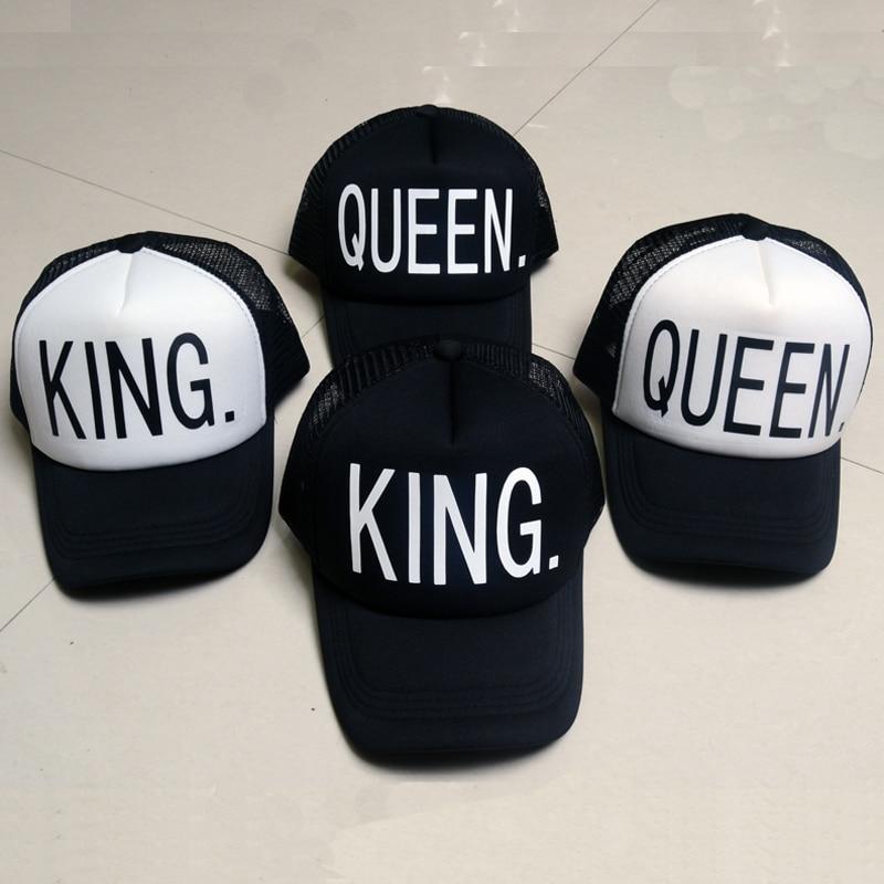 KING QUEEN Καπέλο Μπέιζμπολ Εκτύπωση Άνδρες Γυναικεία Πολυεστερικά Πλέγματα Καλοκαιρινά Καπάκια Καπέλα Snapback Λευκά Μαύρα Ζευγάρια Αγάπης Hip Hop Αθλητικά Καπέλα