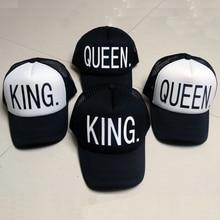 KING QUEEN Baseball Cap Print Men Women Polyester Mesh Summer Visor Snapback Caps White Black Couple Lover Hip Hop Sport Hats