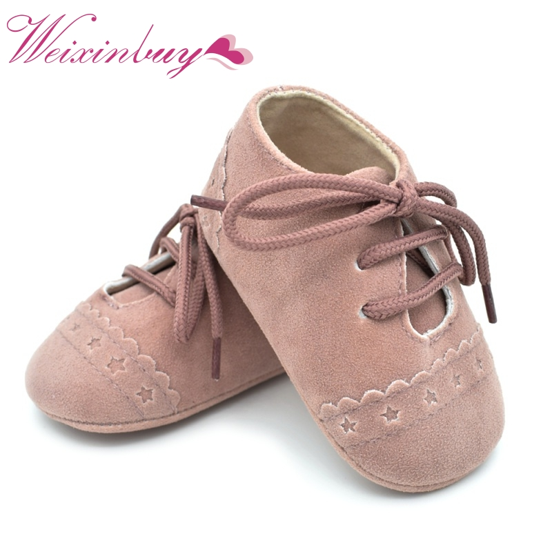 Brand Vintage Rubber Bottom Baby Shoes Non-Slip Newborn Infant T-tied First Walkers Girls Toddler Lace-UP Soft Sole Shoes
