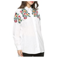 Office Lady Women S Fashion Floral Embroidery White Long Blouse Oversized Long Sleeve Loose Shirt Office