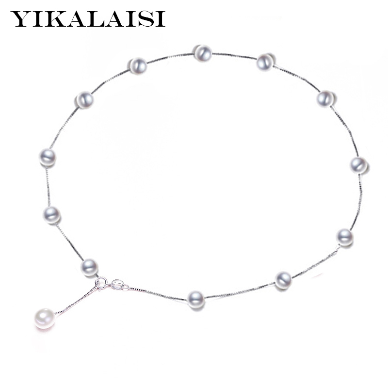 YIKALAISI 2017 Pearl Jewelry Natural Freshwater Pearl choker Necklace Pendant A Much Wear 925 sterling Silver Jewelry For Women mintha pearl jewelry genuine natural black pearl necklace choker 925 sterling silver pendant for women tahitian pearl pendant