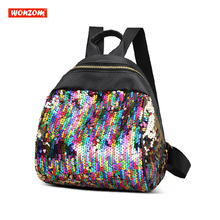 ФОТО wonzom girls backpack with sequin small travel teenage backpack leisure children school bag mochila bling bags for women 2018