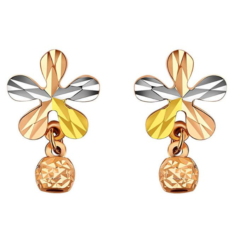 купить New Fashion AU750 Statement bijoux 100% 18K Pure Gold Flower Stud Earrings For Women Wedding Love Earring Birthday Gift по цене 7379.77 рублей