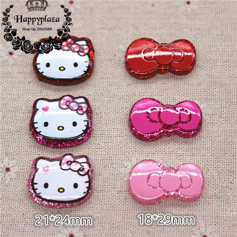 10pcs Kawaii Glitter Resin Cat & Bow Miniature Flatback Cabochon Art Supply DIY Craft Scrapbooking