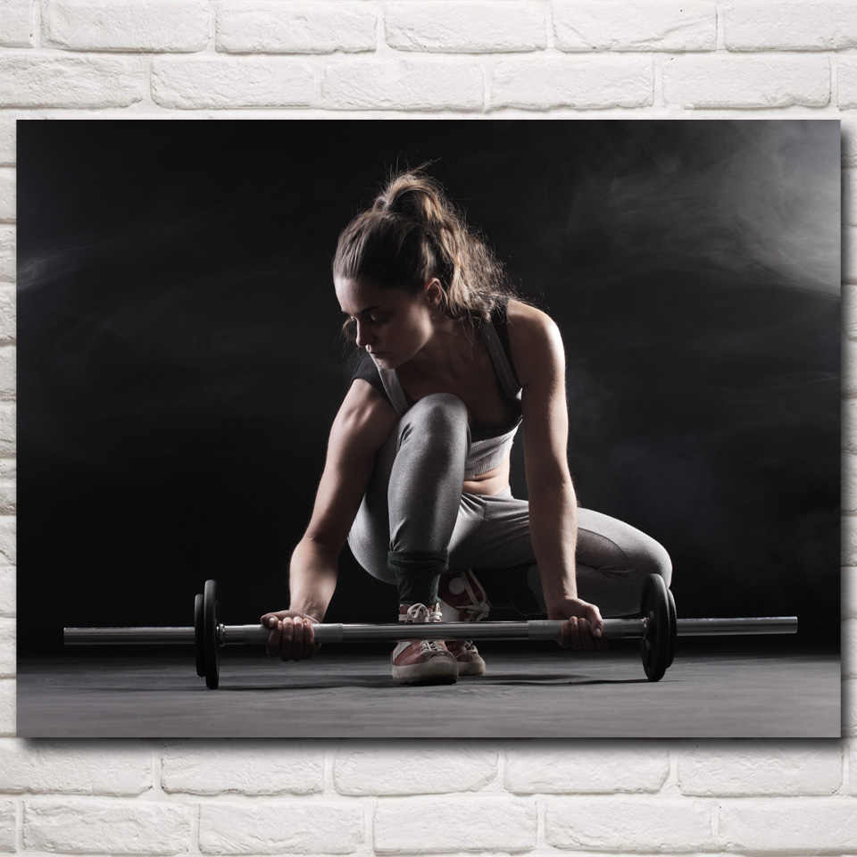 FOOCAME Barbell Spieren Sport Bodybuilding Fitness Model Art Silk Posters en Prints Gym Kamer Decoratie Foto Muur Schilderen