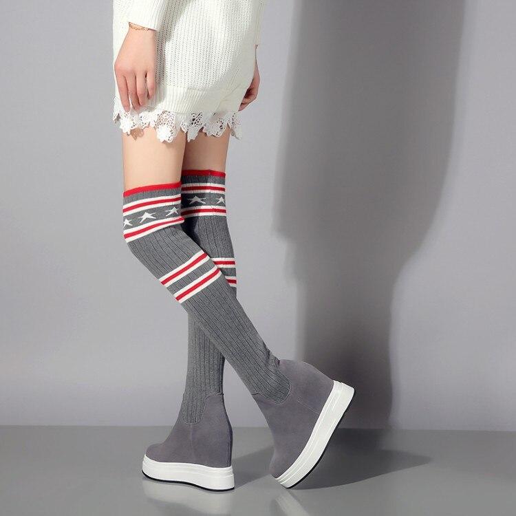 Tacón Rodilla Las Zapatos Cuero Calcetines Alto {zorssar} Mujer Encima Por Mujeres De Plataforma Negro gris Altura Gamuza La Botas Cuñas ZPgwS