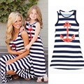 Summer Style Mother and Daughter Dress Mom + Girl Baby Family Fitted Navy Style Sleeveless Casual Skirt The Ankle Blue Striped