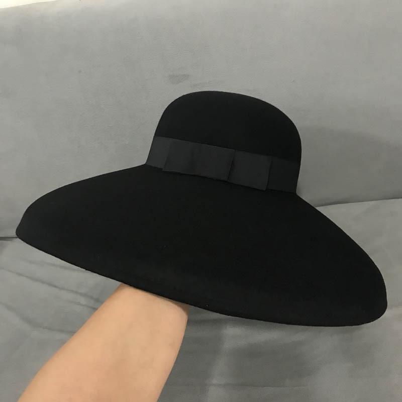 Retro Style Black Pure Wool Felt Floppy Hat Wide Brim Women Winter Fedora Cloche Bowler Hat Ribbon Band Wedding Party Church Hat