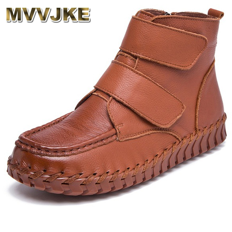 MVVJKE Spring Autumn Retro Women Boots Handmade Genuine Leather Flat Ankle Boots Side Zipper Women Casual Shoes Botas Mujer 2017 handmade casual women shoes genuine leather women boots martins spring