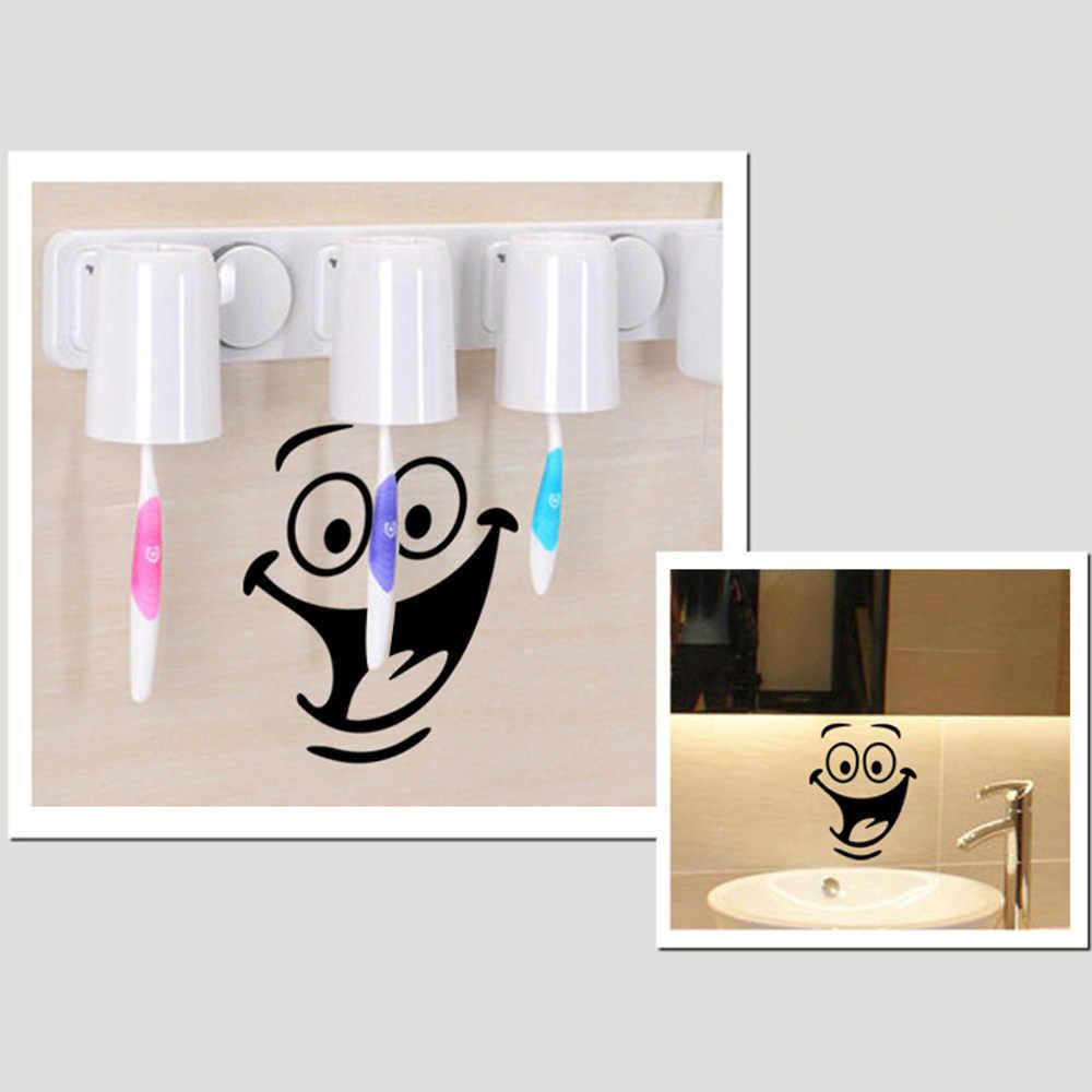 ¡Novedad de 2019! Divertidas pegatinas de pared con sonrisa para niños, asiento de inodoro, baño, decoración decorativa resistente al agua, Posters de cocina, triangulación de envíos