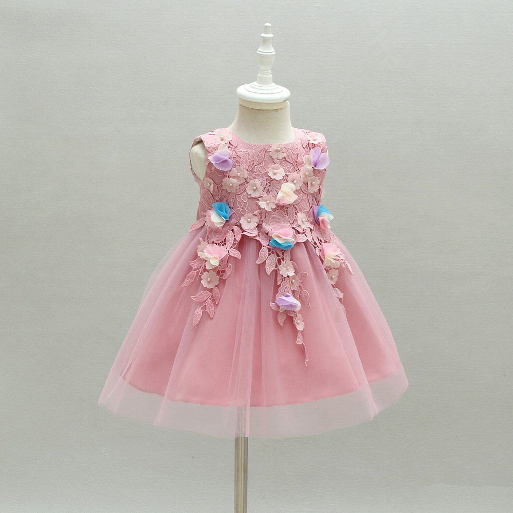 New Fashion Purple Hand-stitched Flower Childrens Piano Costume Flower Girl Dress Baby Party Dress