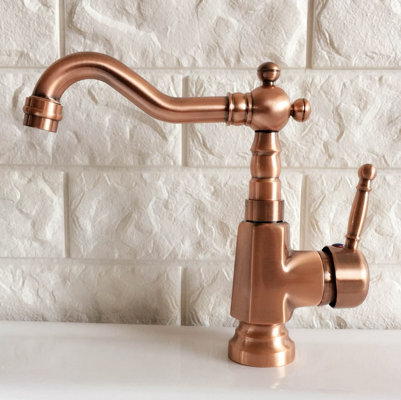 Antique Red Copper Brass Bathroom Kitchen Basin Sink Faucet Mixer Tap Swivel Spout Single Handle One Hole Deck Mounted Mnf395