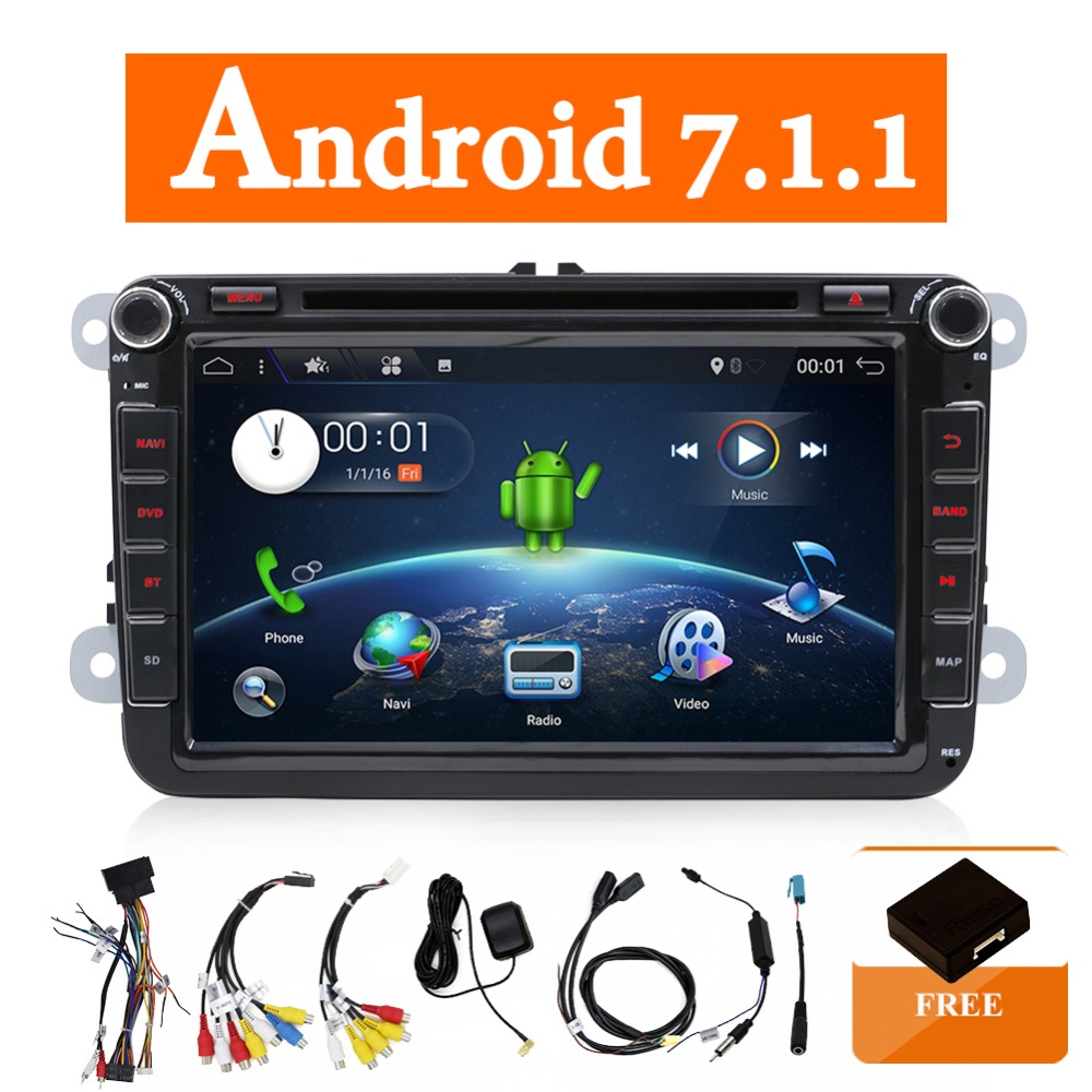 Dois Din Car Multimedia Player Android 7.1 Auto Rádio Para Skoda/Seat/Volkswagen/Passat b7/POLO /GOLF 5 6 DVD GPS 4 Núcleos
