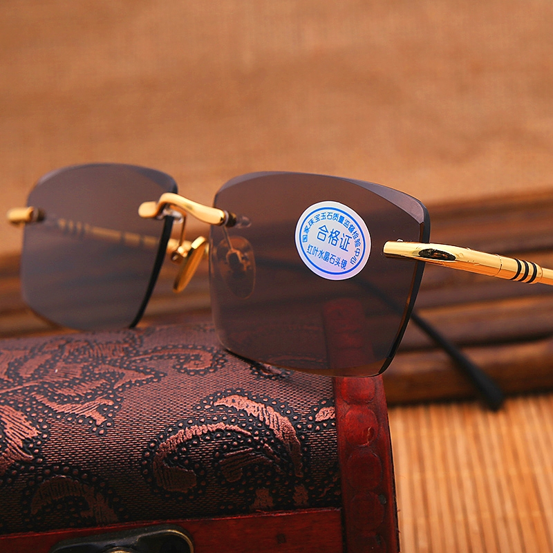 Vazrobe lunettes de soleil en verre hommes marron jaune lunettes de soleil pour homme cristal pierre lentille lunettes de soleil sans monture Anti réflexion UV400