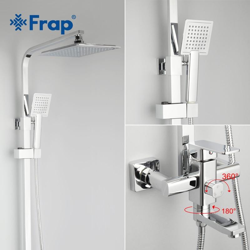Frap Bathroom Rainfall Shower Faucets Set Brass Single Handle Mixer Tap Chrome Brass Wall Mounted Bath Showers Sets Column Panel