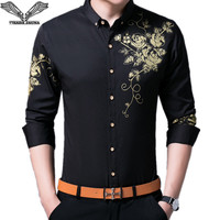 VISADA JAUNA Men Shirts 2017 New Spring Autumn Long Sleeve Slim Fit Shirts Men Casual Print