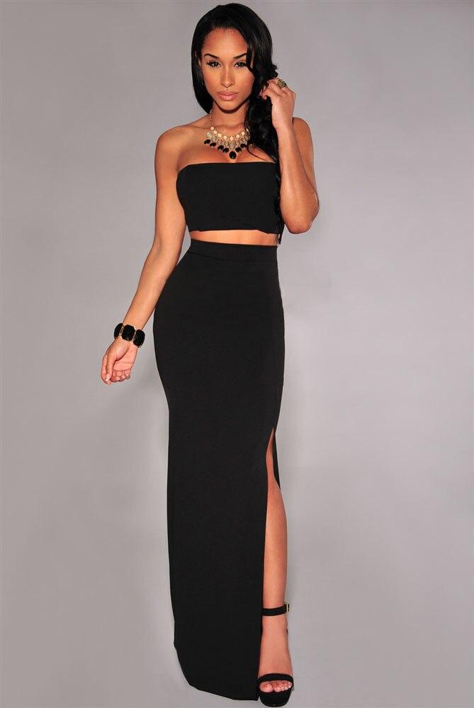2 Piece Set Women Party Dresses Strapless Sleeveless Black Slit Maxi Two Skirt yl60080 - SSOS store