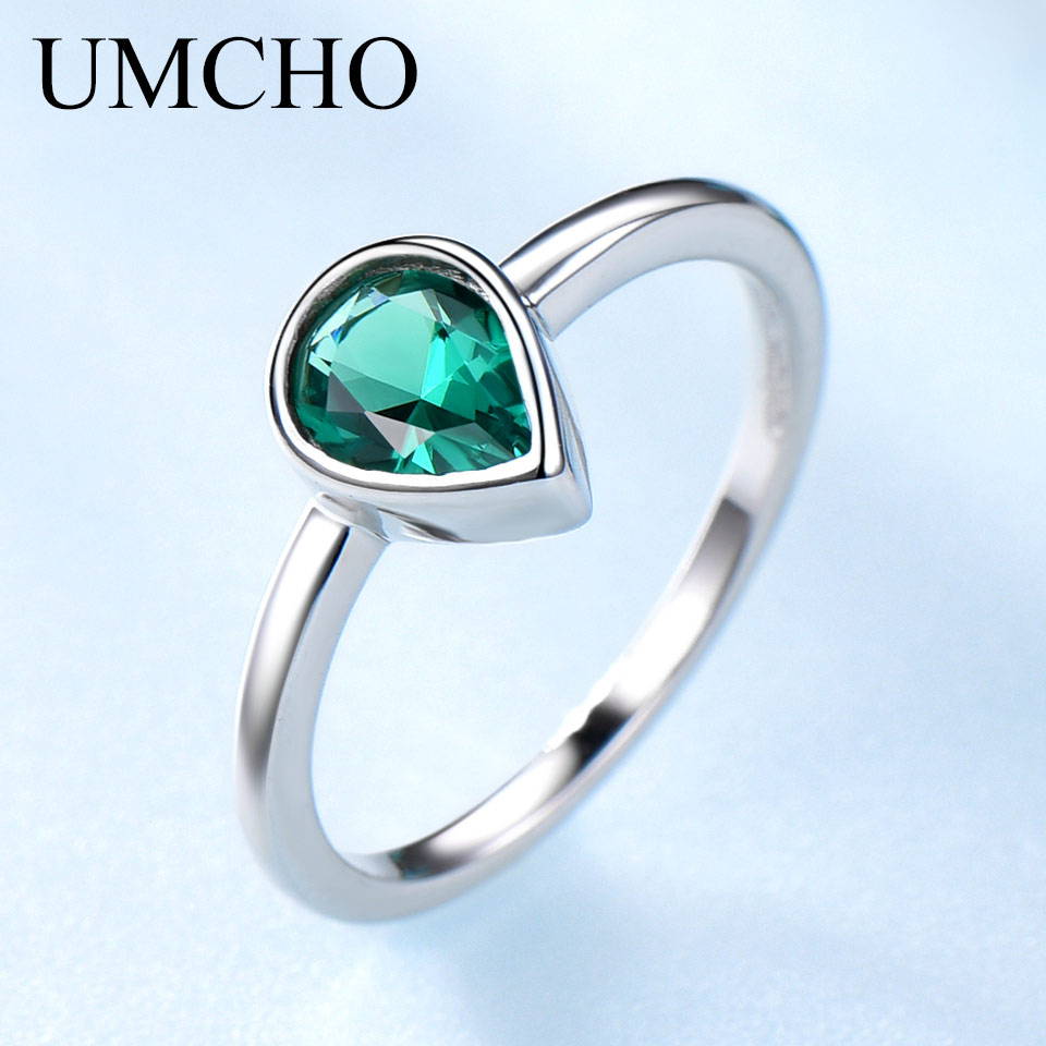 UMCHO Solid 925 Sterling Silver Water Drop Created Emerald Colorful Gemstone Rings For Mother May Birthday Gift Fine Jewelry