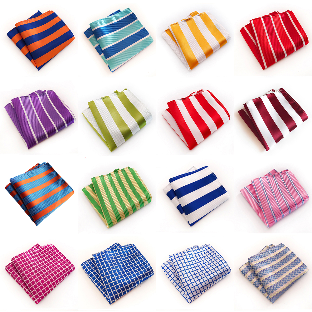 Men Classic Striped Checks Print Handkerchief Wedding Business Pocket Square BWTHZ0321