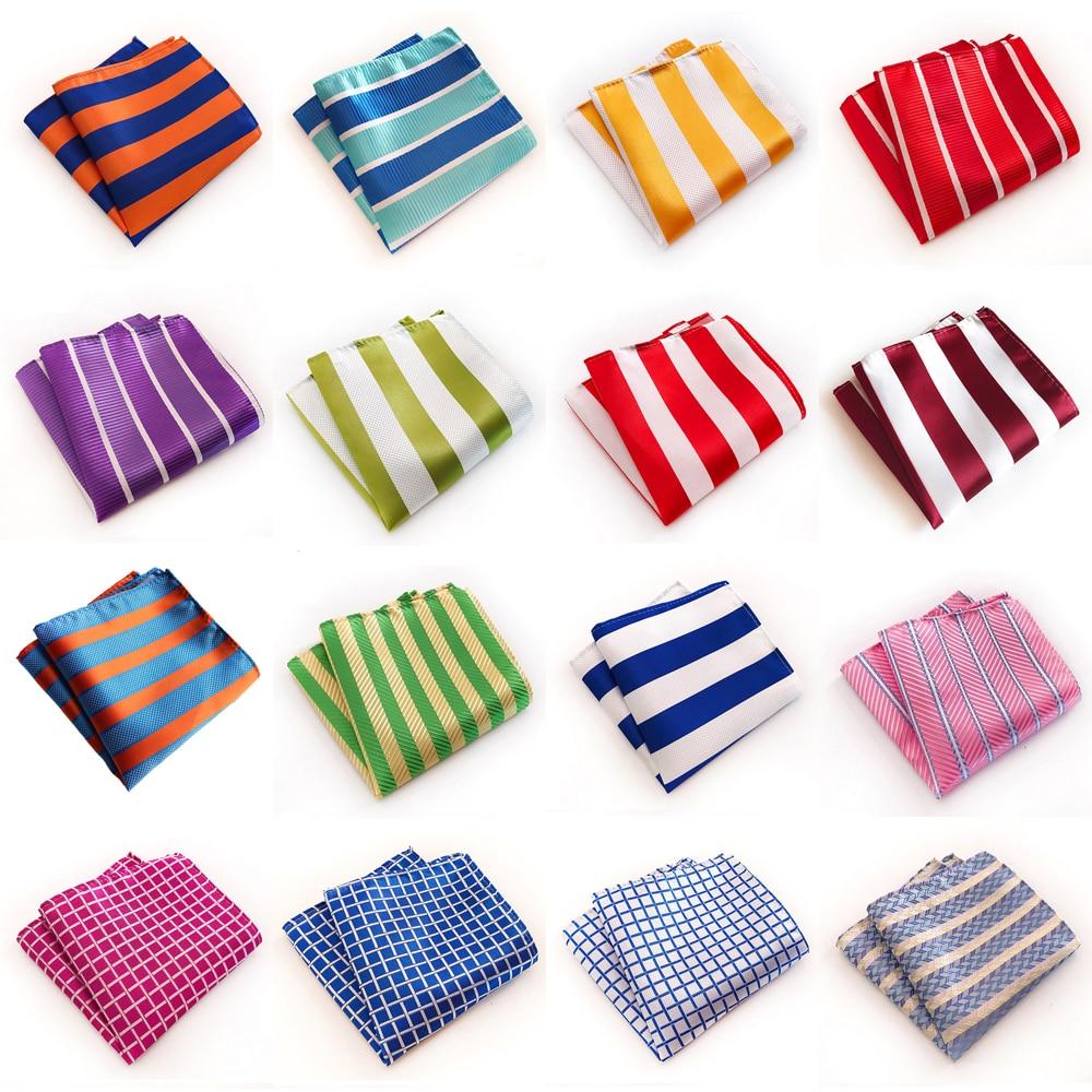 Men Classic Striped Checks Print Handkerchief Wedding Business Pocket Square BWTHZ0321