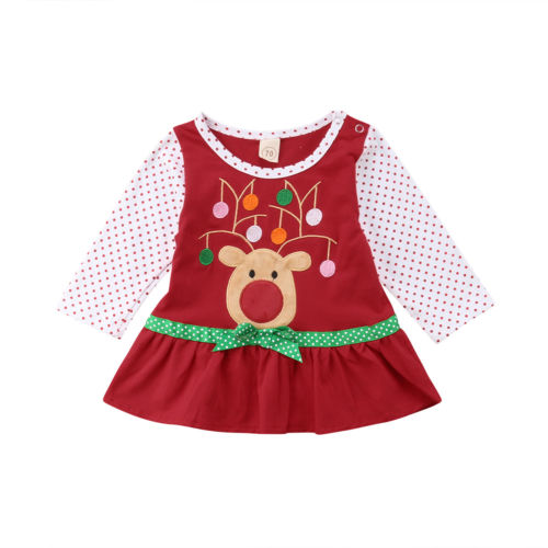 Lovely Kids Baby Girls Xmas Deer Dress Long Sleeve Party Pageant Cotton Dress Fashion Christmas Dresses Clothes 0 to 4Y toddlers girls dots deer pleated cotton dress long sleeve dresses