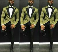 New Arrival Custom Made Groom Tuxedos Mandarin Lapel Best man Suit Groomsman/Bridegroom Wedding/Prom Suits (Green Jacket+Black P