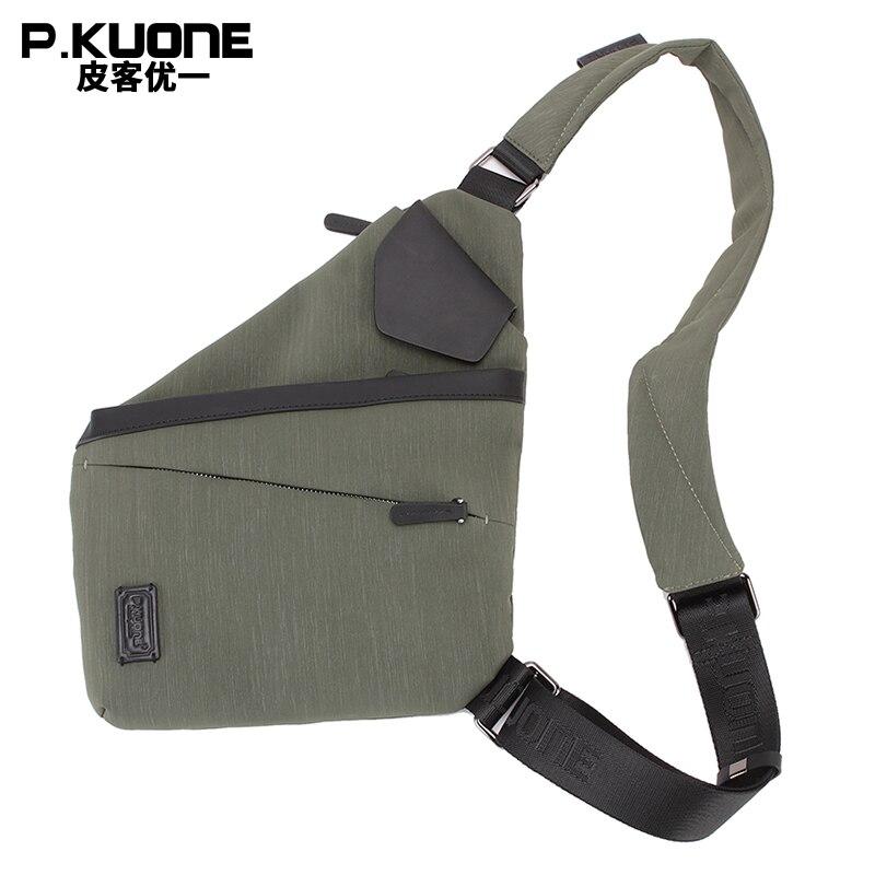 P.KUONE Hot Sell Genuine Leather And Nylon Men Waist Pack New Fashion Messenger Shoulder Bag For Teenager Boys Travel Phone Bag