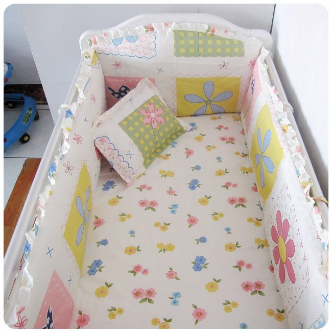 Promotion! 6PCS Baby Bed Sets Cut Cartoon Print Baby Cot Crib Bedding Set(bumpers+sheet+pillow cover) allover sanding graffiti print sheet set