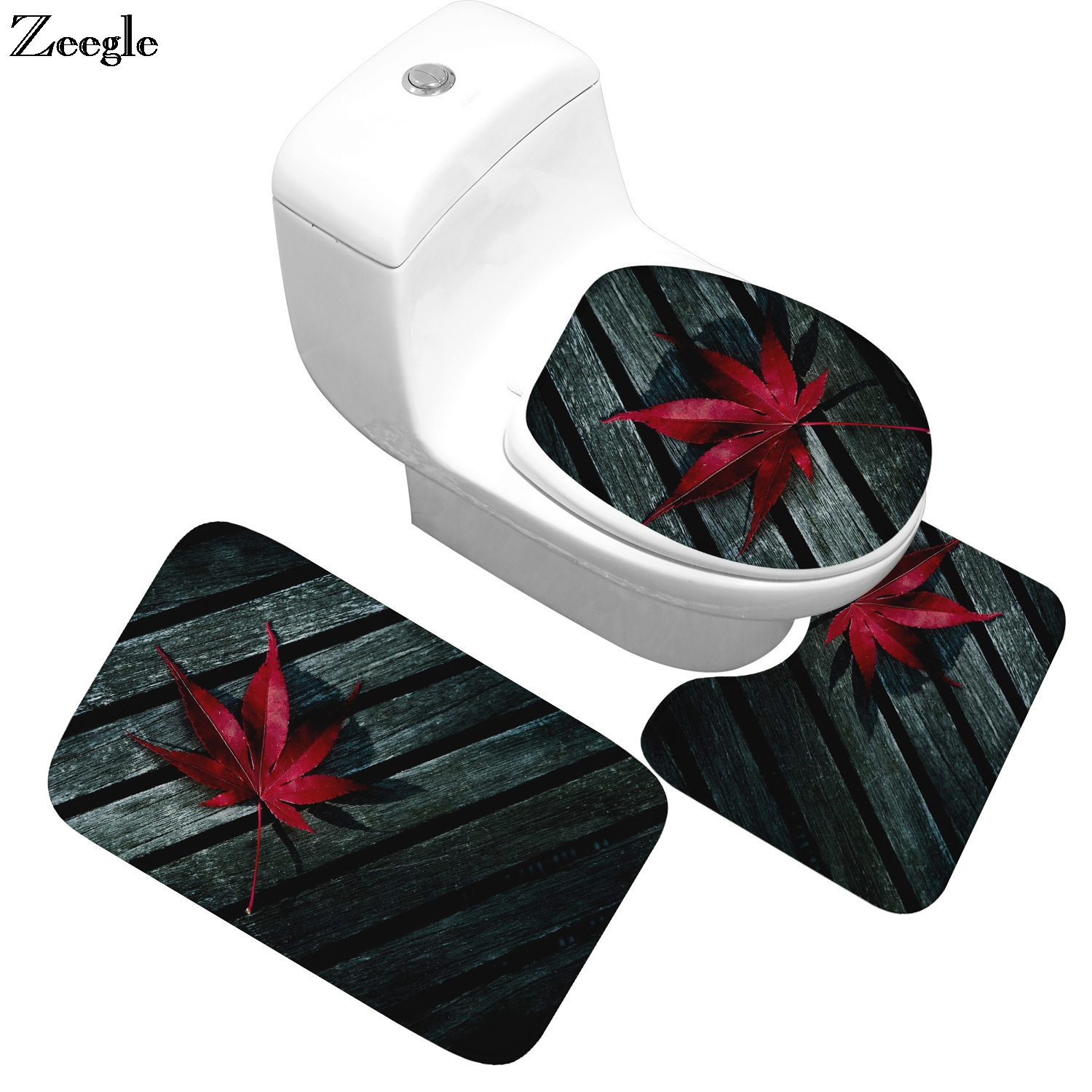 Zeegle 3pcs Set Bathroom Carpet Leaf Pattern Anti Slip