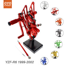 For Yamaha YZF-R6 1999-2002 Motorcycle Rear Set Accessories CNC Adjustable Rearset Foot Pegs YZF R6 Foot Rests Footpegs недорго, оригинальная цена