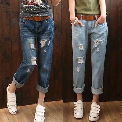 2ed5903e05e Большой размер женщин жир ММ талии джинсы восьмой отверстие джинсы женщина  boyfriend джинсы для женщин рваные джинсы для женщин купить на