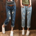 Large size women fat MM waist jeans eighth hole jeans woman boyfriend jeans for women ripped jeans for women