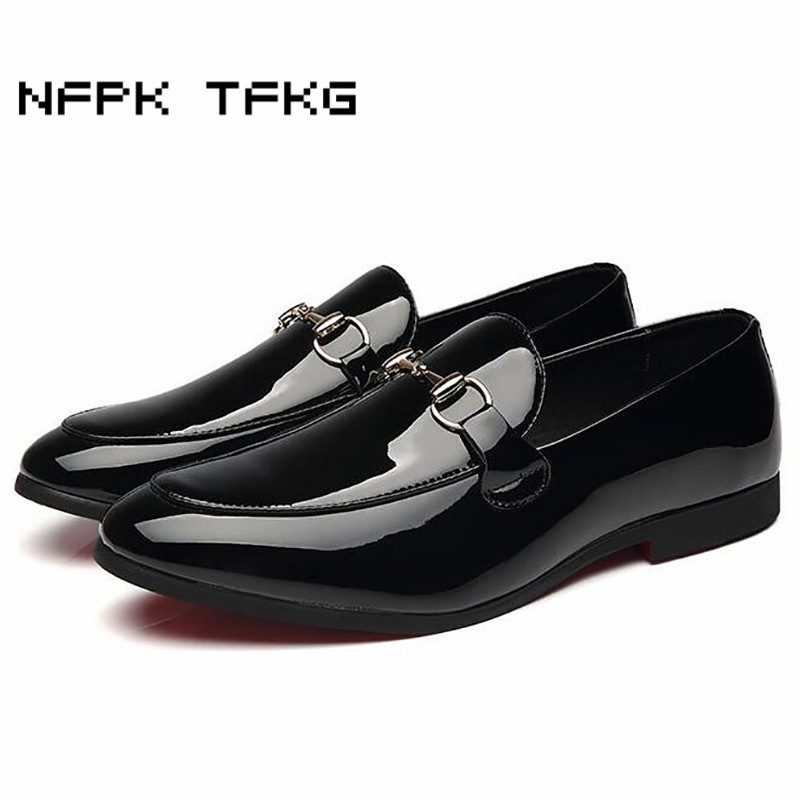 large size mens casual business party dress black patent leather shoes slip on lazy driving peas oxfords shoe zapatos loafer man fashion genuine leather men shoe zapatillas zapatos hombre lace up work man casual business party mens dress shoes plus size 48