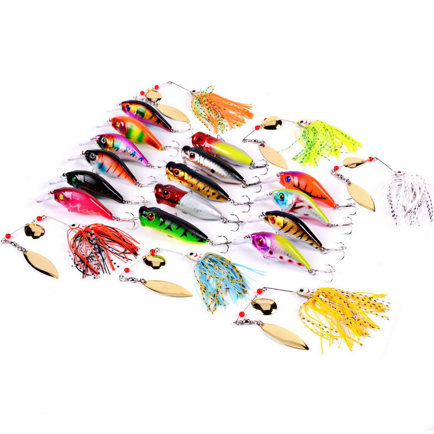 21Pcs/set Mixed Fishing Lure Bait Set Kit Wobbler Crankbait Spinnerbait Popper Swimbait With Treble Hook Leurre Dur Pesca Crank crankbait fishing lure 112mm 14g hard bait wobbler crank bait minnow lure 1 2 3 5m artifical peche with treble sharp hook