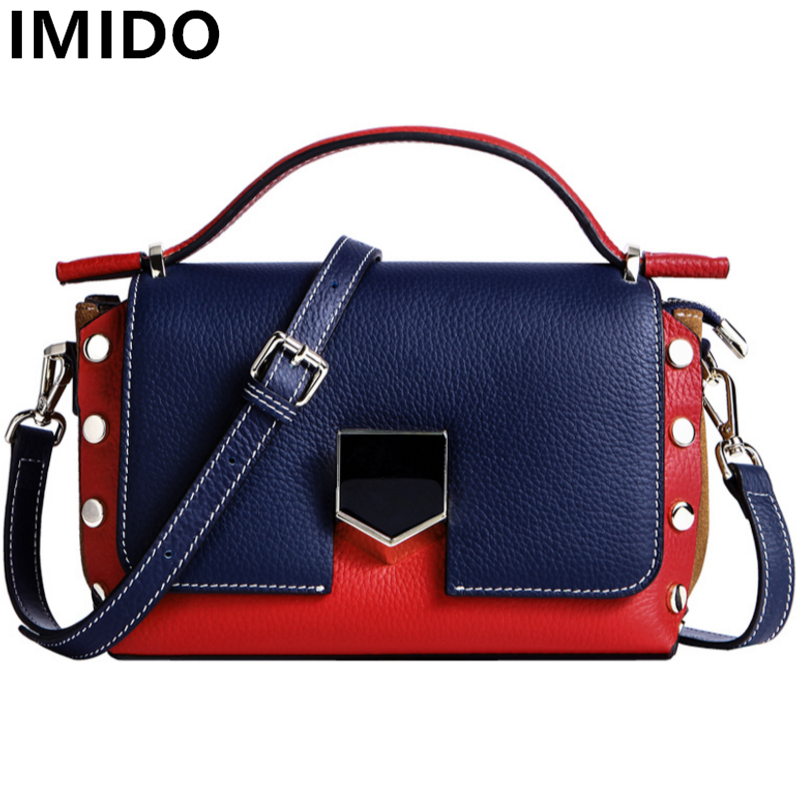 IMIDO Real Genuine Leather Women Bags Patchwork Cow Leather Women Handbags Fashion Totes Casual Summer Messenger Crossbody Bag 2018 new fashion women handbags genuine leather bow patchwork cow leather bag lady shoulder crossbody messenger bags saddle