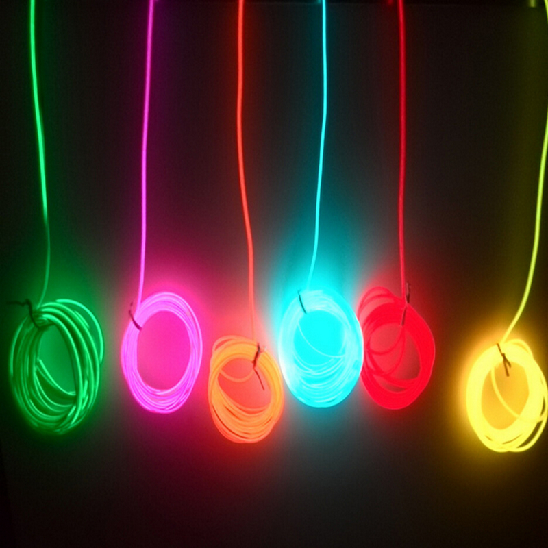 2m / 3m / 5m 3V AA controlador Flexible Neon Light Glow EL Cable Tubo de cinta impermeable LED luces de neón zapatos ropa coche decoración