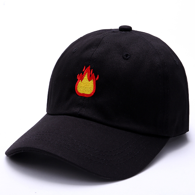 b817ece71b2 2017 Fashion Baseball Cap with FIRE Embroidery Men Hat Summer Fall Brand  Cotton Black Caps Women Men hat trucker Dad Hats-in Baseball Caps from  Apparel ...
