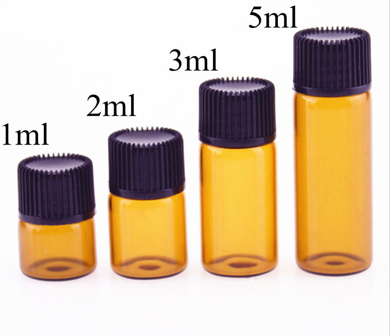 100pcs 1ml/2ml/3ml/5ml Dram Amber Glass Essential Oil Bottle Thin Glass Small Brown Perfume Oil Vials Sample Test Bottle