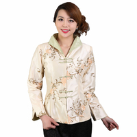 New Arrival White Chinese Female Satin Jacket Traditional Embroidery Coat Flower chaquetas mujer S M L XL XXL XXXL M-32