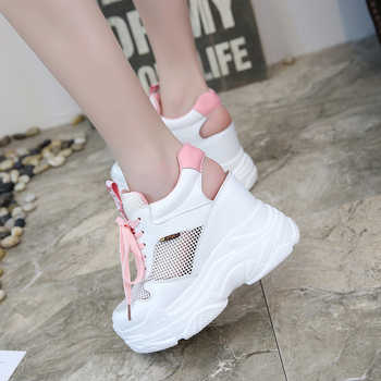 Rimocy breathable air mesh platform sneakers women 2019 summer fashion high heels wedges sandals woman casual shoes sandalias